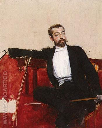 A Portrait of John Singer Sargent - Giovanni Boldini reproduction oil painting