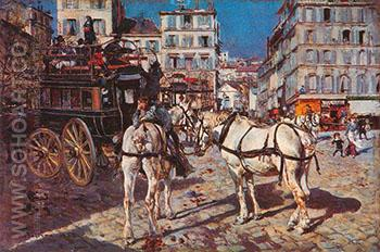 Bus on the Pigalle Place in Paris - Giovanni Boldini reproduction oil painting