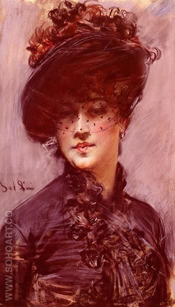 Lady with a Black Hat - Giovanni Boldini reproduction oil painting