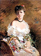 Lady with Flowers - Giovanni Boldini reproduction oil painting