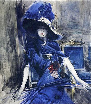 The Divine in Blue - Giovanni Boldini reproduction oil painting