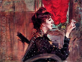 The Red Curtain - Giovanni Boldini reproduction oil painting