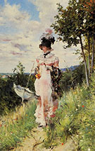 The Summer Stroll - Giovanni Boldini reproduction oil painting