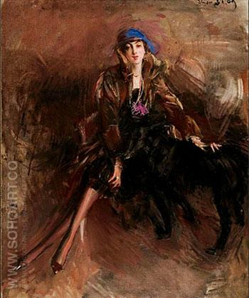 Lady with a Black dog c 1920 - Giovanni Boldini reproduction oil painting