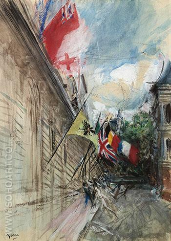 Paris 14 July - Giovanni Boldini reproduction oil painting