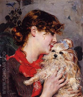 The Actress Rejane and Her Dog - Giovanni Boldini reproduction oil painting