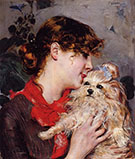 The Actress Rejane and Her Dog - Giovanni Boldini