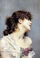 Portrait of A Lady With Lilacs - Giovanni Boldini reproduction oil painting