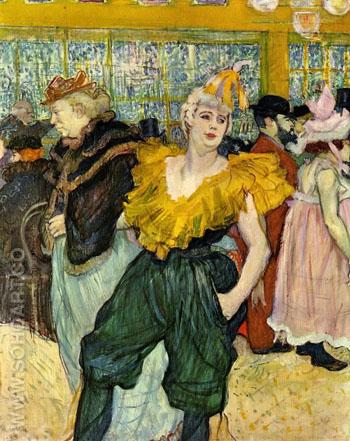 At the Moulin Rouge The Clowness Cha U Kao - Henri De Toulouse-lautrec reproduction oil painting
