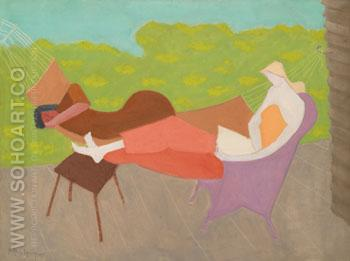 March and Sally Outdoors 1950 - Milton Avery reproduction oil painting