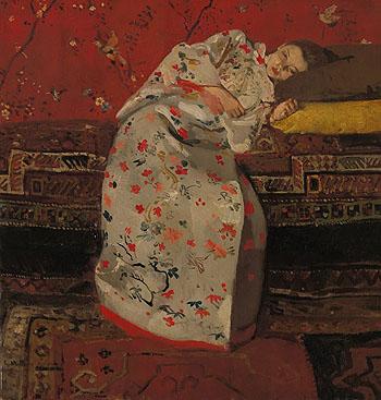 Girl in White Kimono 1895 - George Hendrik Breitner reproduction oil painting