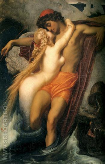 The Fisherman and the Siren c1856 - Frederick Lord Leighton reproduction oil painting