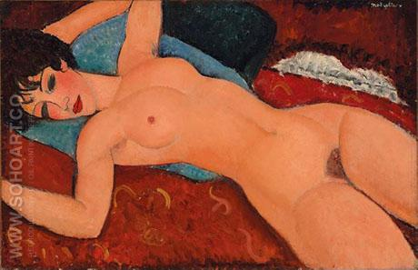 Reclining Nude Nu Couche 1917 - Amedeo Modigliani reproduction oil painting
