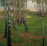 Birch Grove at Dusk - Carl Moll reproduction oil painting