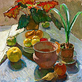 Still Life with Pots of flowers and apples c1930 - Carl Moll