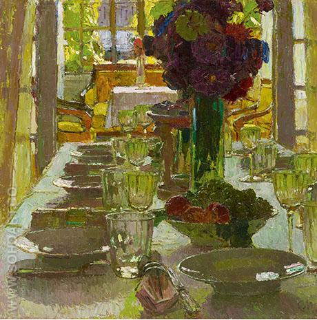 The Dining Room 1915 - Carl Moll reproduction oil painting