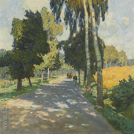 Tree Road Lined in Bruntal - Carl Moll reproduction oil painting