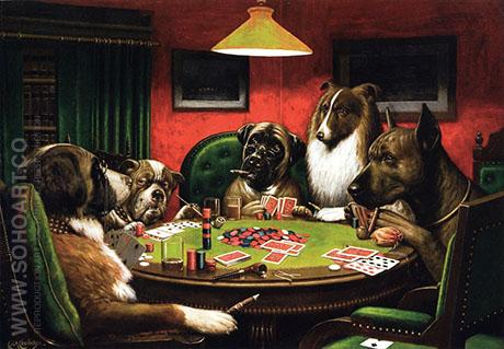 Bold Bluff Dogs Playing Poker - Cassius Marcellus Coolidge reproduction oil painting