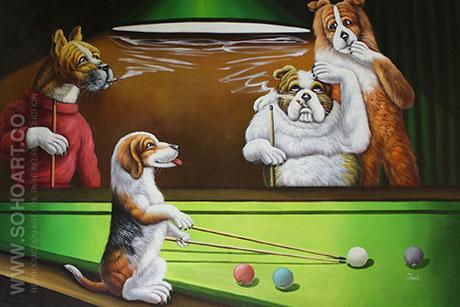 Dogs Playing Pool - Cassius Marcellus Coolidge reproduction oil painting