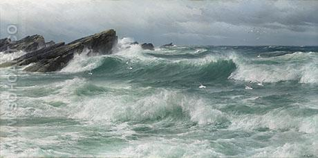 Waves Breaking on a Rocky Coast - David James reproduction oil painting