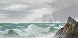 Waves Crashing into the Cornish Coast - David James reproduction oil painting