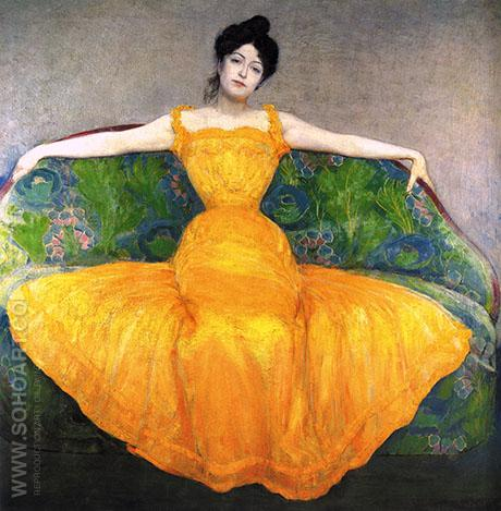 Woman in Yellow Dress 1899 - Max Kurzweil reproduction oil painting