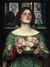 Gather Ye Rosebuds While Ye May 1908 - John William Waterhouse reproduction oil painting