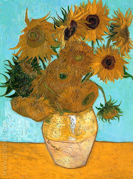 Vase with Twelve Sunflowers c1889 - Vincent van Gogh reproduction oil painting