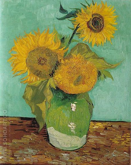 Three Sunflowers 1888 - Vincent van Gogh reproduction oil painting