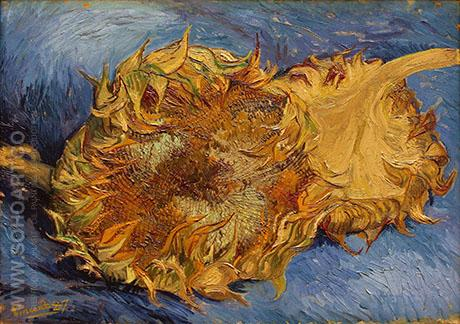 Two Sunflowers 1888 - Vincent van Gogh reproduction oil painting