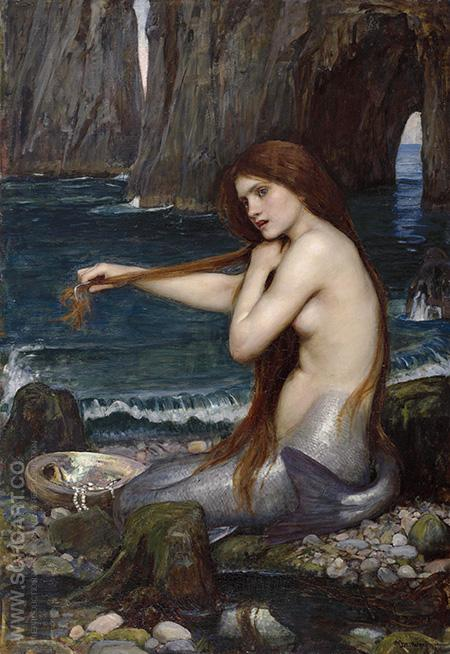A Mermaid 1900 - John William Waterhouse reproduction oil painting