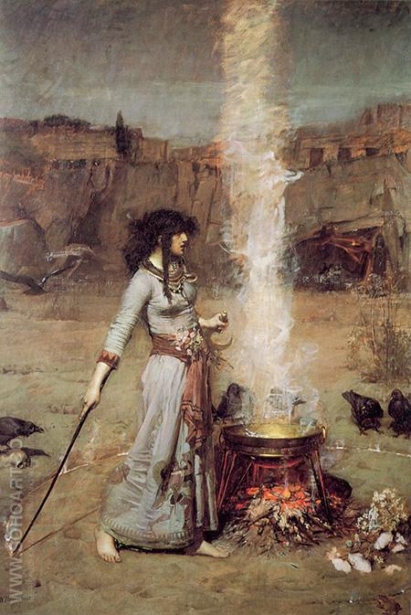 The Magic Circle - John William Waterhouse reproduction oil painting