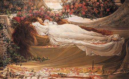 Sleeping Beauty - John William Waterhouse reproduction oil painting