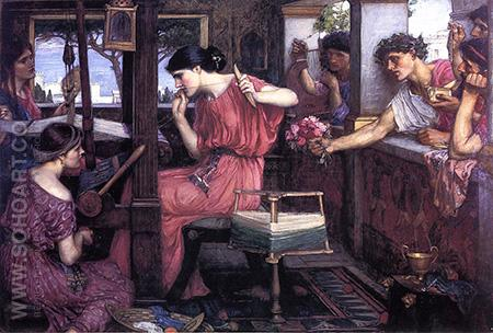 Penelope and the Suitors 1912 - John William Waterhouse reproduction oil painting