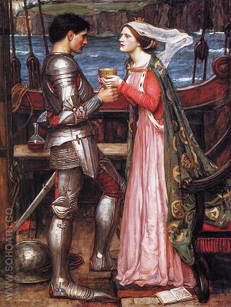 Tristan and Isolde with the Potion - John William Waterhouse reproduction oil painting