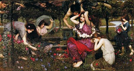 Flora and the Zephyrs 1897 - John William Waterhouse reproduction oil painting