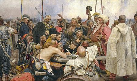 Cossacks of Saporog Are Drafting a Manifesto - Ilya Repin reproduction oil painting