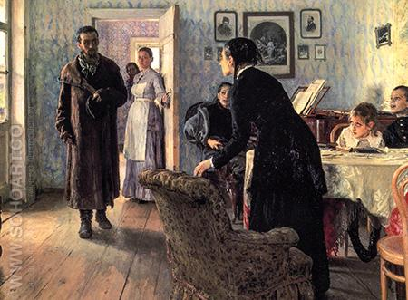 Unexpected Visitors c1888 - Ilya Repin reproduction oil painting