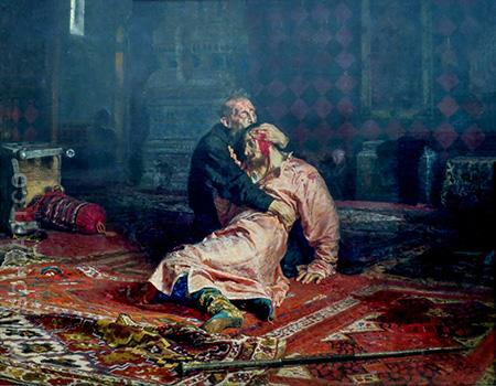 Tsar Ivan Grozny Killing His Son - Ilya Repin reproduction oil painting