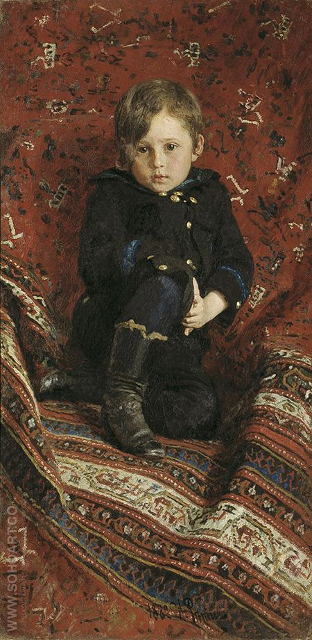 Portrait of Yury Repin the Artist's Son - Ilya Repin reproduction oil painting