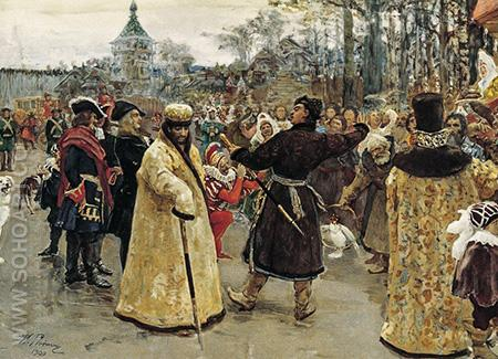Arrival Tsars Piotr and Ioann - Ilya Repin reproduction oil painting