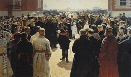 Aleksander III Receiving Rural District Elders in the Yard of Petrovsky Palace in Moscow - Ilya Repin reproduction oil painting