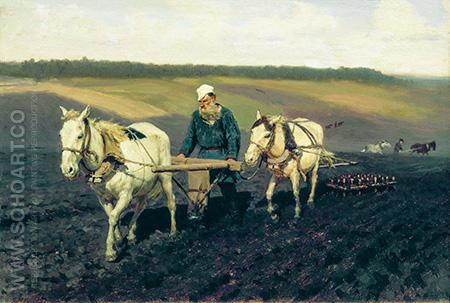 Tolstoy Ploughing - Ilya Repin reproduction oil painting