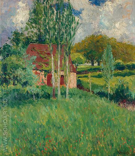 Barn in Summer Landscape 1890 - Robert Vonnoh reproduction oil painting