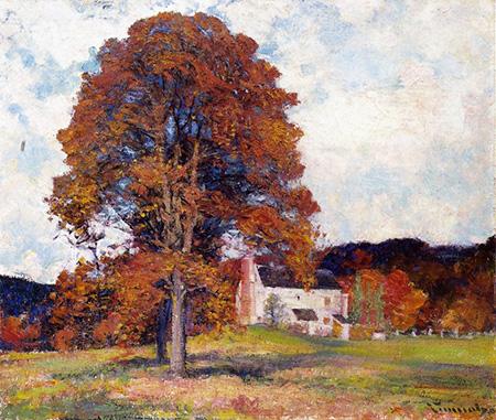 Autumn Hillside & My Studio - Robert Vonnoh reproduction oil painting