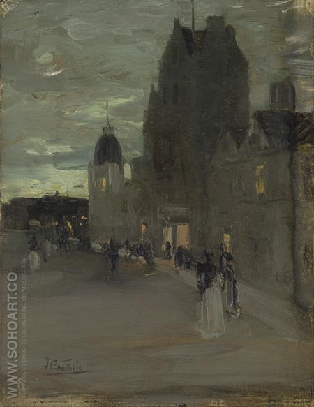 Street in Oban Night - James Guthrie reproduction oil painting