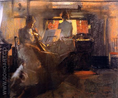 Candlelight Drawing 1890 - James Guthrie reproduction oil painting