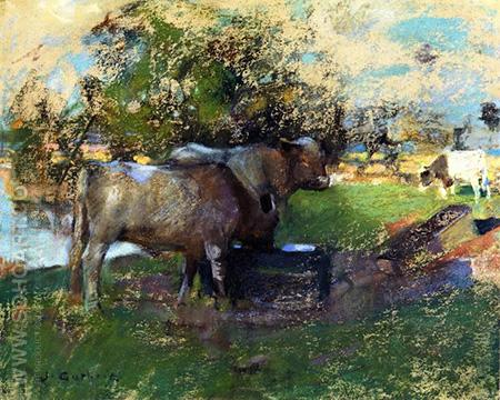 Pastureland Drawing 1890 - James Guthrie reproduction oil painting