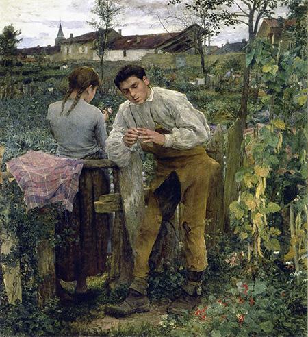 L'Amour au Village 1882 - Jules Bastien-Lepage reproduction oil painting