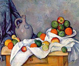Jug, Curtain and Fruit Bowl - Paul Cezanne reproduction oil painting
